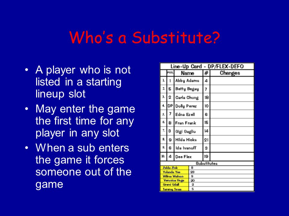 Who's a Substitute? A player who is not listed in a starting lineup slot May enter the game the first time for any player in any slot When a sub enter