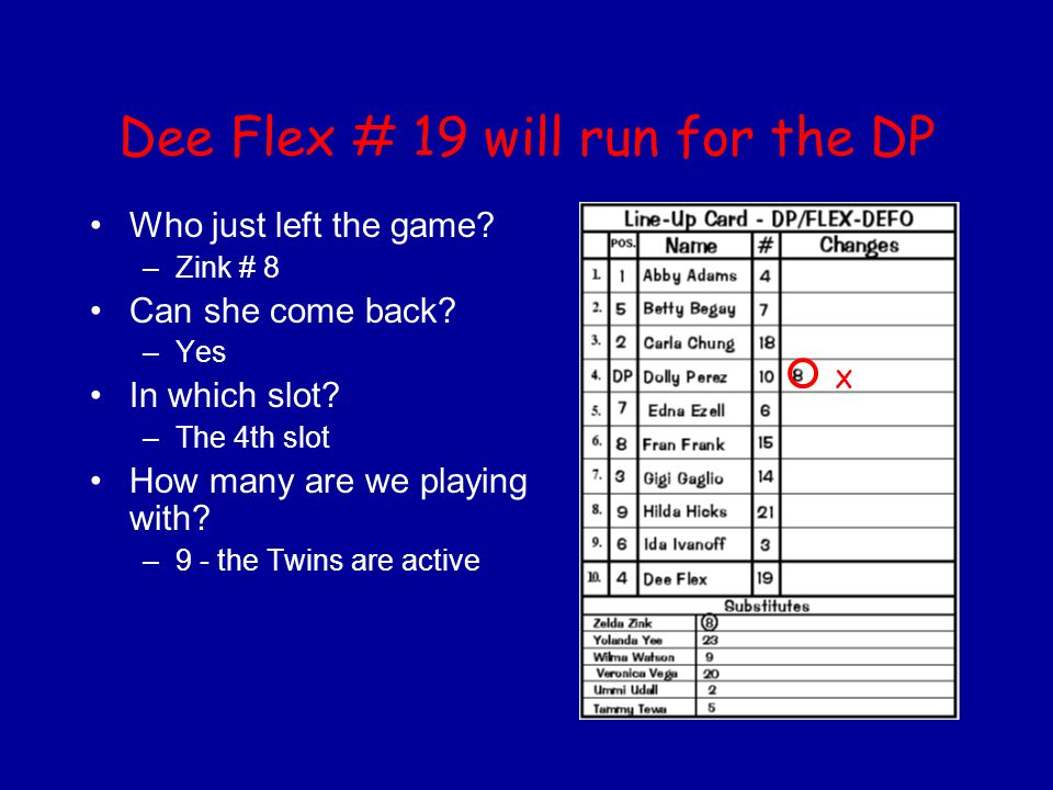 Dee Flex # 19 will run for the DP Who just left the game? –Zink # 8 Can she come back? –Yes In which slot? –The 4th slot How many are we playing with?
