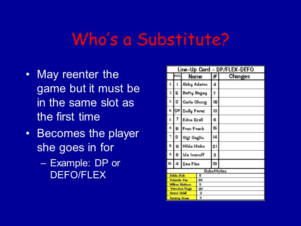 Who's a Substitute? May reenter the game but it must be in the same slot as the first time Becomes the player she goes in for –Example: DP or DEFO/FLE