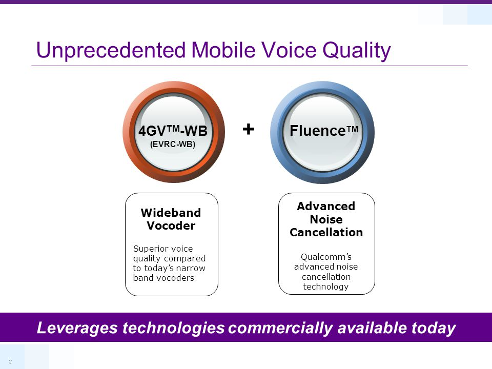 2 Unprecedented Mobile Voice Quality Leverages technologies commercially available today Advanced Noise Cancellation Qualcomm's advanced noise cancell