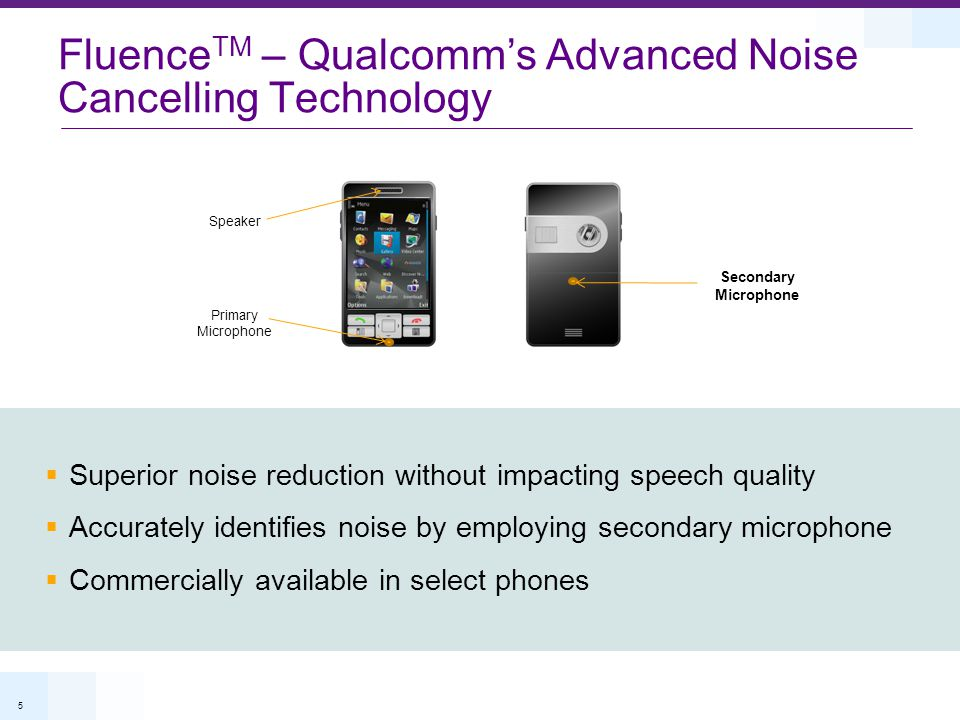 5 Fluence TM – Qualcomm's Advanced Noise Cancelling Technology Primary Microphone Secondary Microphone Speaker Incremental software only upgrade  Sup