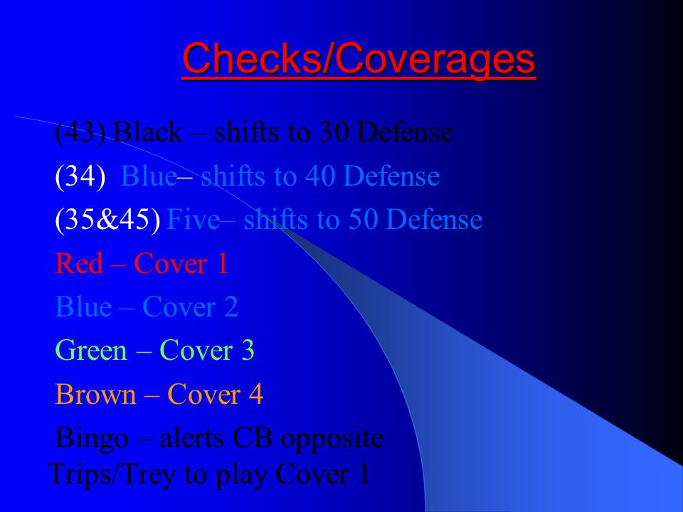 Checks/Coverages (43) Black – shifts to 30 Defense (34) Blue– shifts to 40 Defense (35&45) Five– shifts to 50 Defense Red – Cover 1 Blue – Cover 2 Green – Cover 3 Brown – Cover 4 Bingo – alerts CB opposite Trips/Trey to play Cover 1