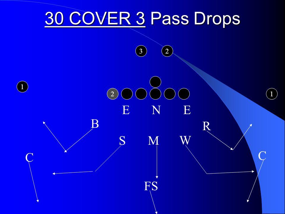 30 COVER 3 Pass Drops 2 1 1 32 E N E S M C FS C R W B
