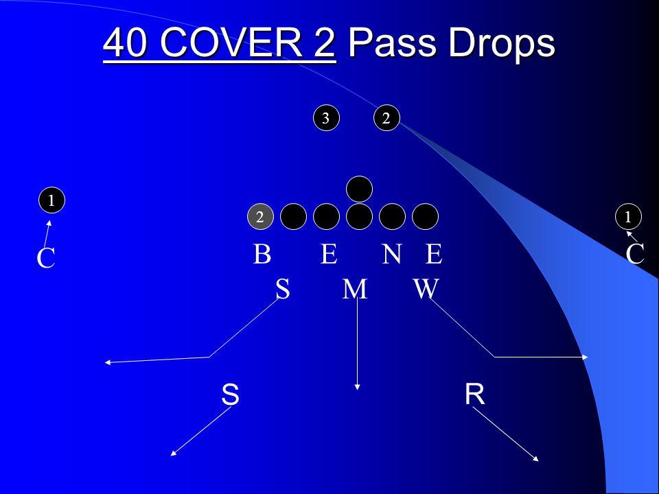 40 COVER 2 Pass Drops 2 1 1 32 B E N E C S M W R C S