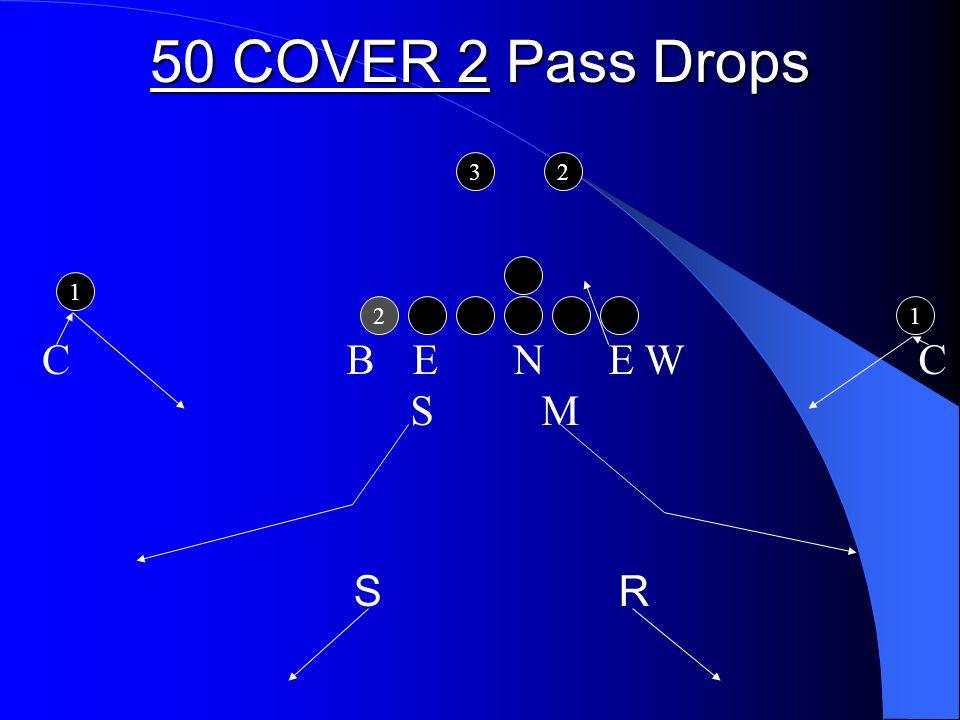 50 COVER 2 Pass Drops 2 1 1 32 B E N E W C S M C S R
