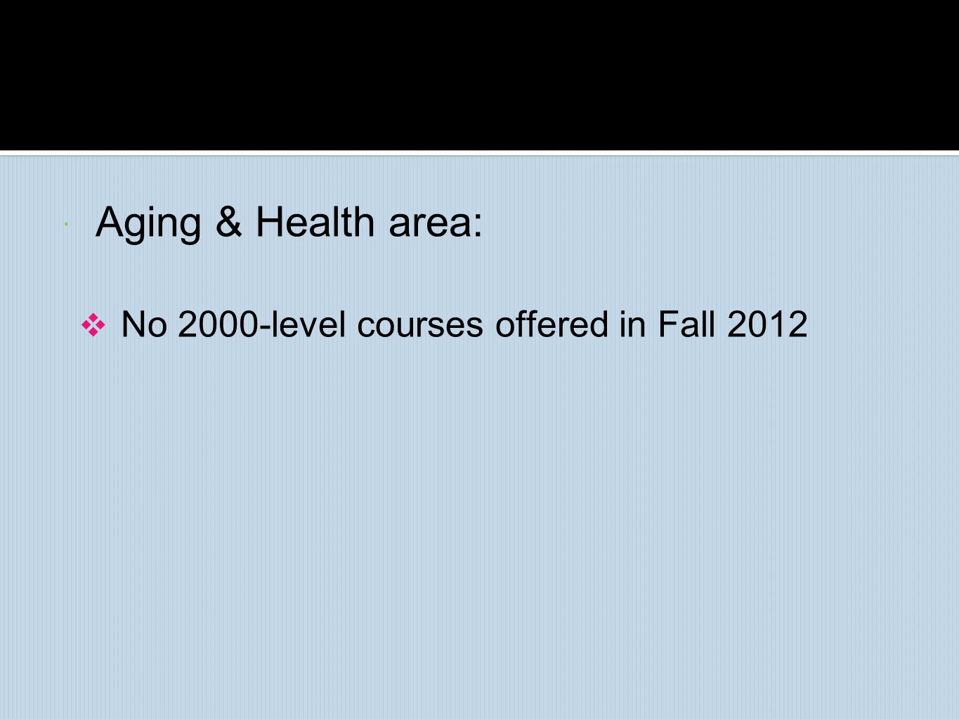  Aging & Health area:  No 2000-level courses offered in Fall 2012