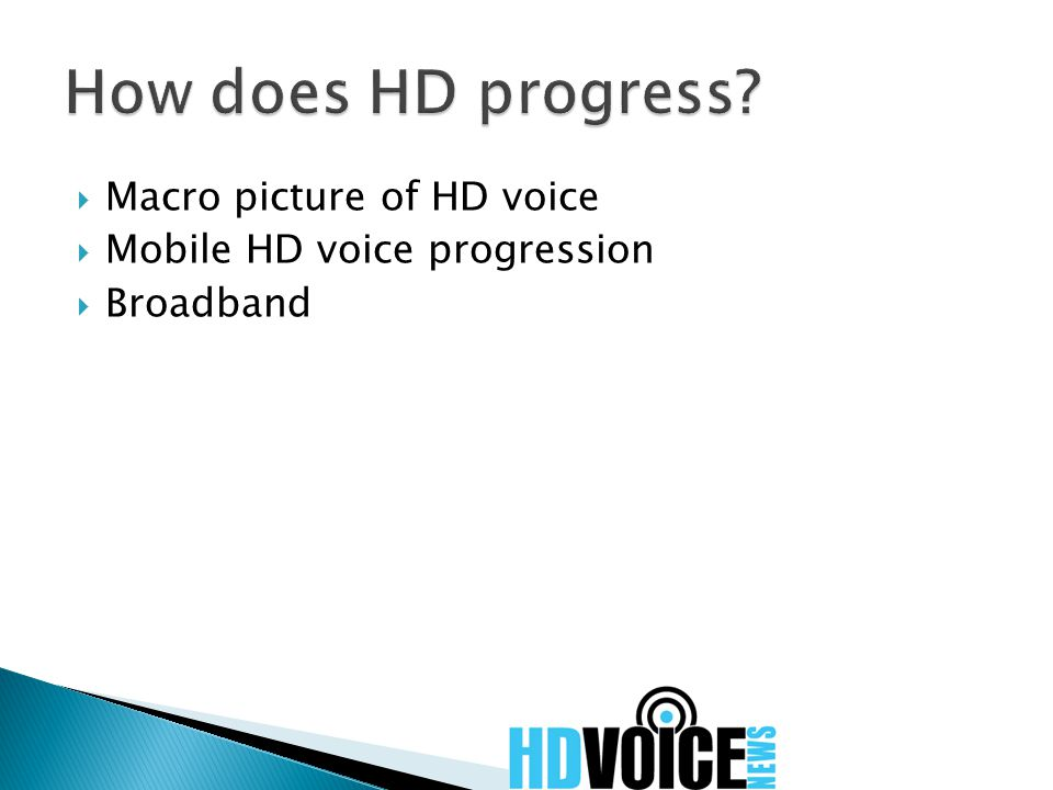  Macro picture of HD voice  Mobile HD voice progression  Broadband