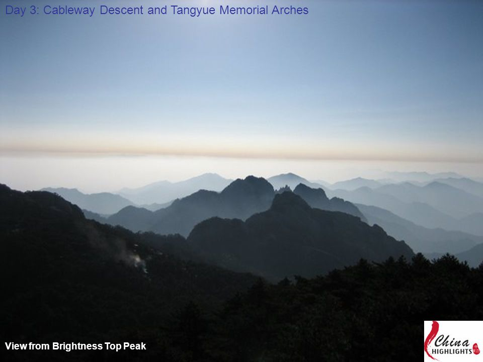 View from Brightness Top Peak Day 3: Cableway Descent and Tangyue Memorial Arches