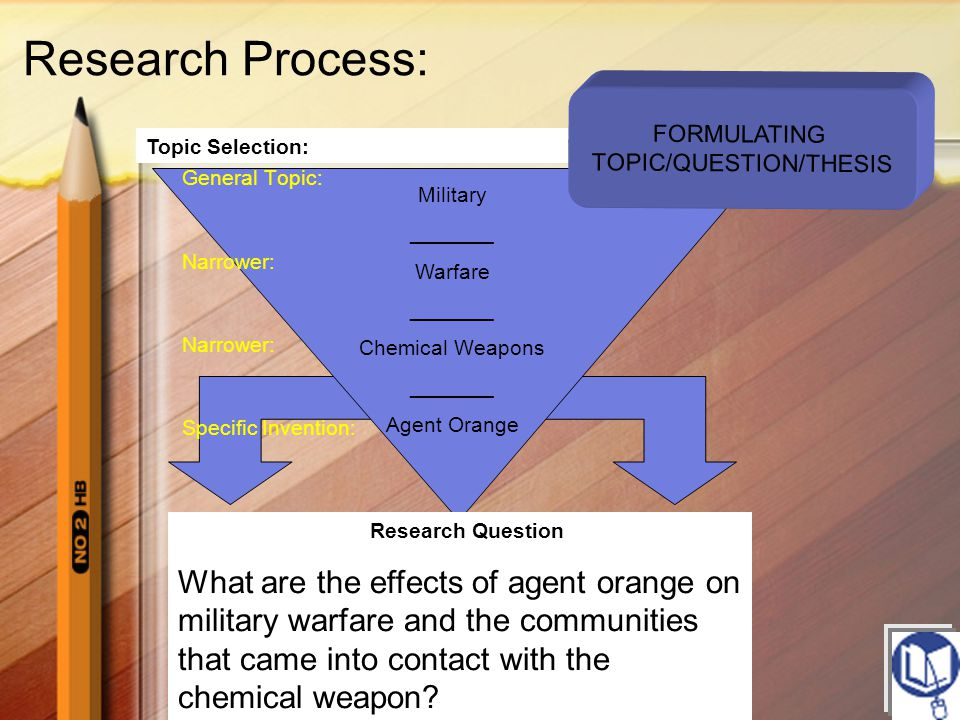 FORMULATING TOPIC/QUESTION/THESIS Research Question What are the effects of agent orange on military warfare and the communities that came into contac