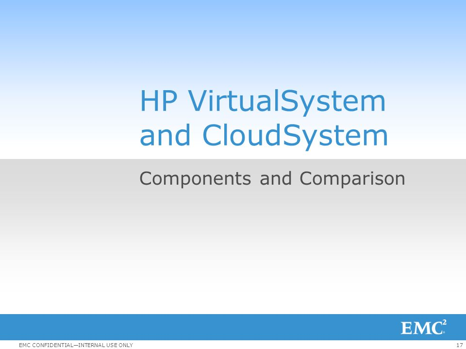 17EMC CONFIDENTIAL—INTERNAL USE ONLY HP VirtualSystem and CloudSystem Components and Comparison