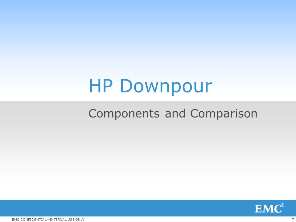 7EMC CONFIDENTIAL—INTERNAL USE ONLY HP Downpour Components and Comparison