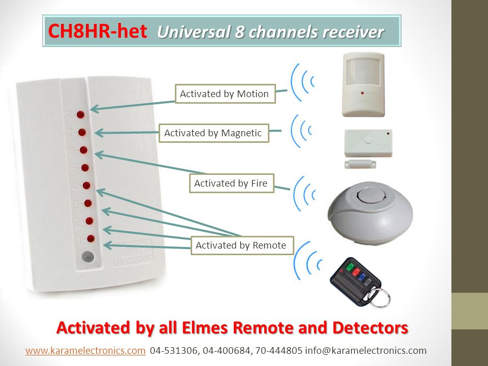 Universal 8 channels receiver CH8HR-het Universal 8 channels receiver Activated by all Elmes Remote and Detectors Activated by Motion Activated by Magnetic Activated by Fire Activated by Remote www.karamelectronics.comwww.karamelectronics.com 04-531306, 04-400684, 70-444805 info@karamelectronics.com