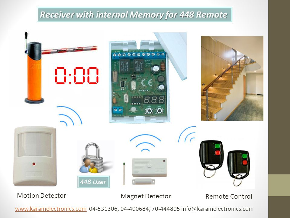Receiver with internal Memory for 448 Remote 448 User Motion Detector Magnet Detector Remote Control www.karamelectronics.comwww.karamelectronics.com 04-531306, 04-400684, 70-444805 info@karamelectronics.com