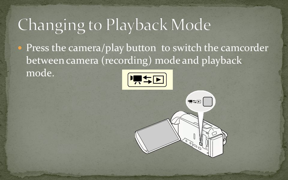 Press the camera/play button to switch the camcorder between camera (recording) mode and playback mode.