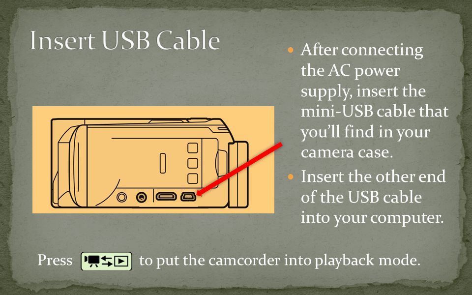After connecting the AC power supply, insert the mini-USB cable that you'll find in your camera case.