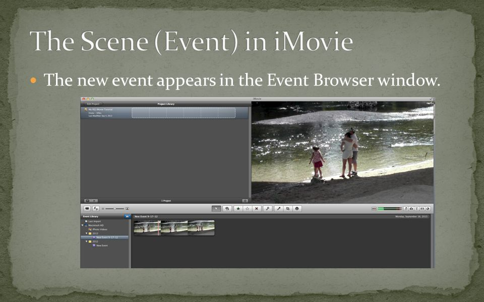 The new event appears in the Event Browser window.