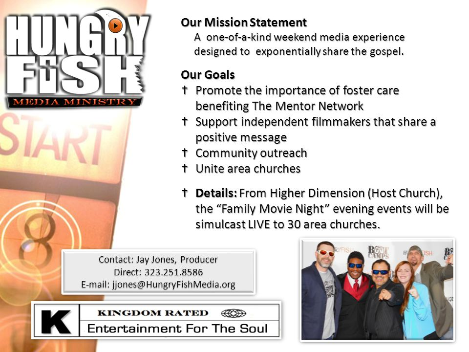 Our Mission Statement A one-of-a-kind weekend media experience A one-of-a-kind weekend media experience designed to exponentially share the gospel. de