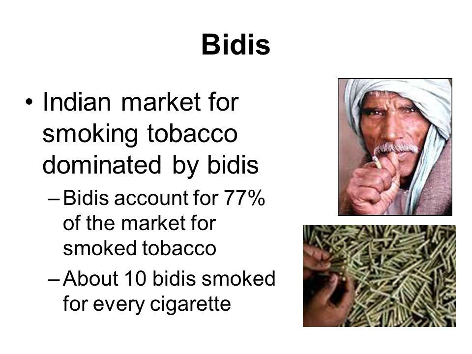 Bidis Indian market for smoking tobacco dominated by bidis –Bidis account for 77% of the market for smoked tobacco –About 10 bidis smoked for every cigarette