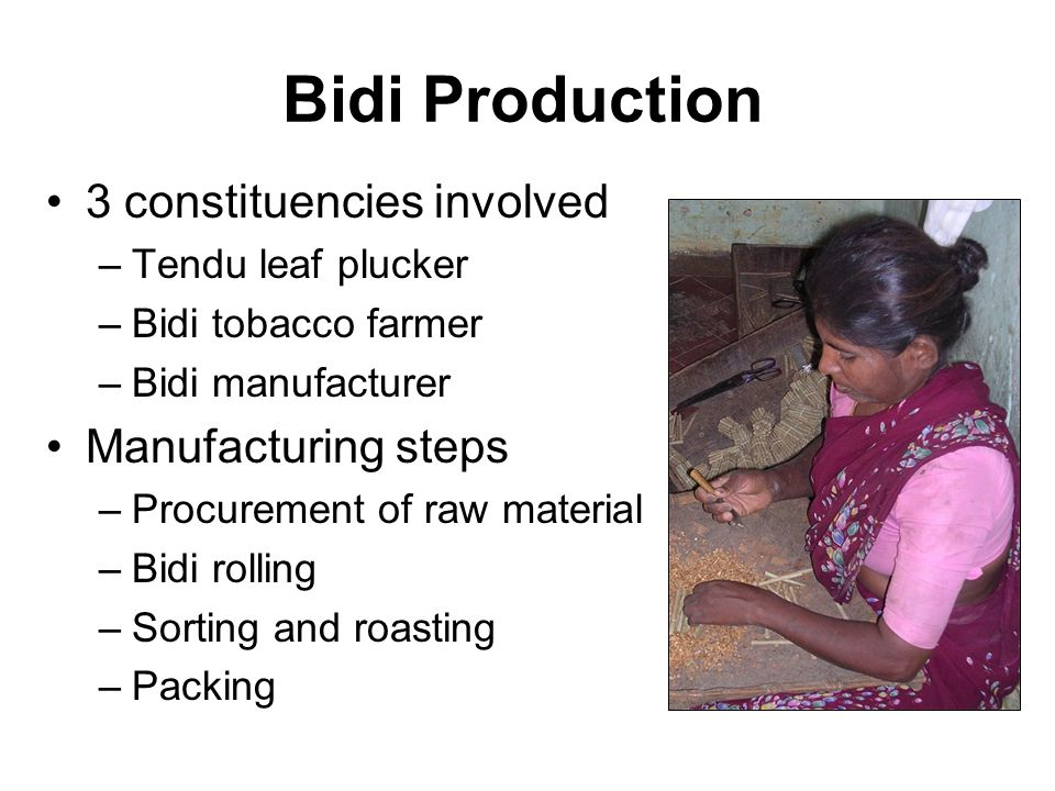 Bidi Production 3 constituencies involved –Tendu leaf plucker –Bidi tobacco farmer –Bidi manufacturer Manufacturing steps –Procurement of raw material –Bidi rolling –Sorting and roasting –Packing