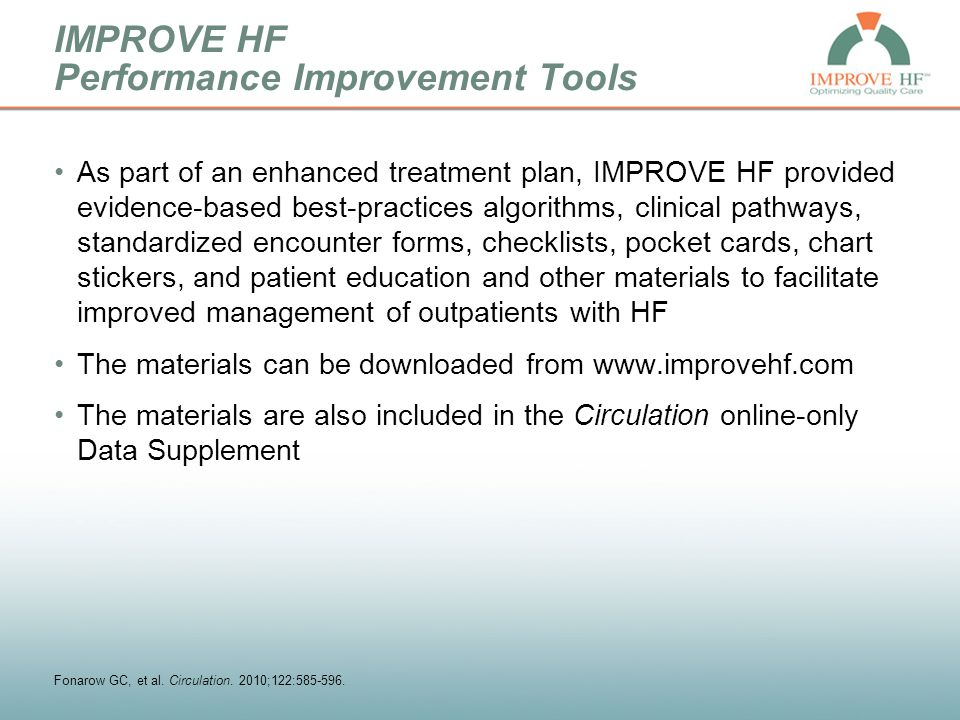 IMPROVE HF Performance Improvement Tools As part of an enhanced treatment plan, IMPROVE HF provided evidence-based best-practices algorithms, clinical