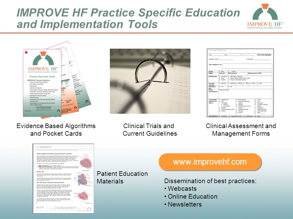 IMPROVE HF Practice Specific Education and Implementation Tools www.improvehf.com Evidence Based Algorithms and Pocket Cards Patient Education Materia