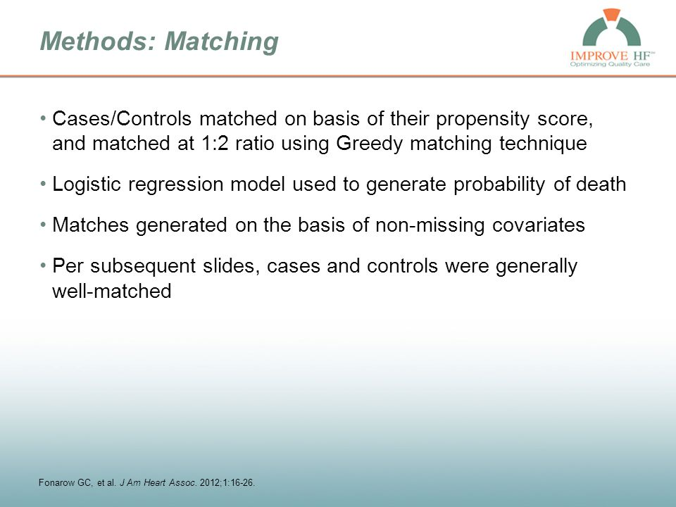 Methods: Matching Cases/Controls matched on basis of their propensity score, and matched at 1:2 ratio using Greedy matching technique Logistic regress