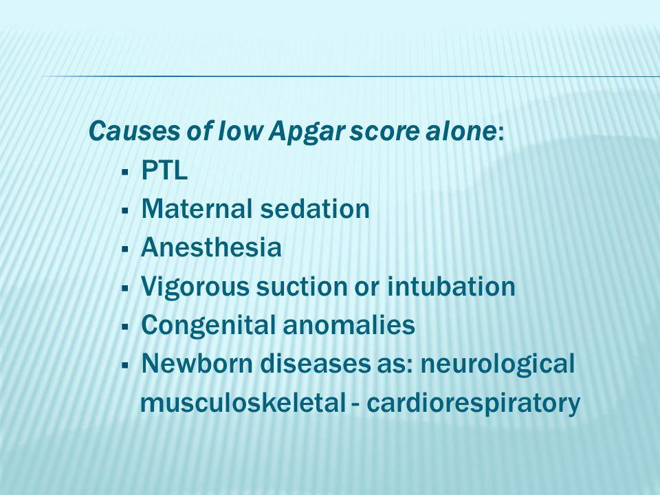 Causes of low Apgar score alone:  PTL  Maternal sedation  Anesthesia  Vigorous suction or intubation  Congenital anomalies  Newborn diseases as: