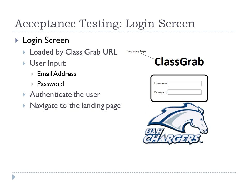 Acceptance Testing: Login Screen  Login Screen  Loaded by Class Grab URL  User Input:  Email Address  Password  Authenticate the user  Navigate to the landing page