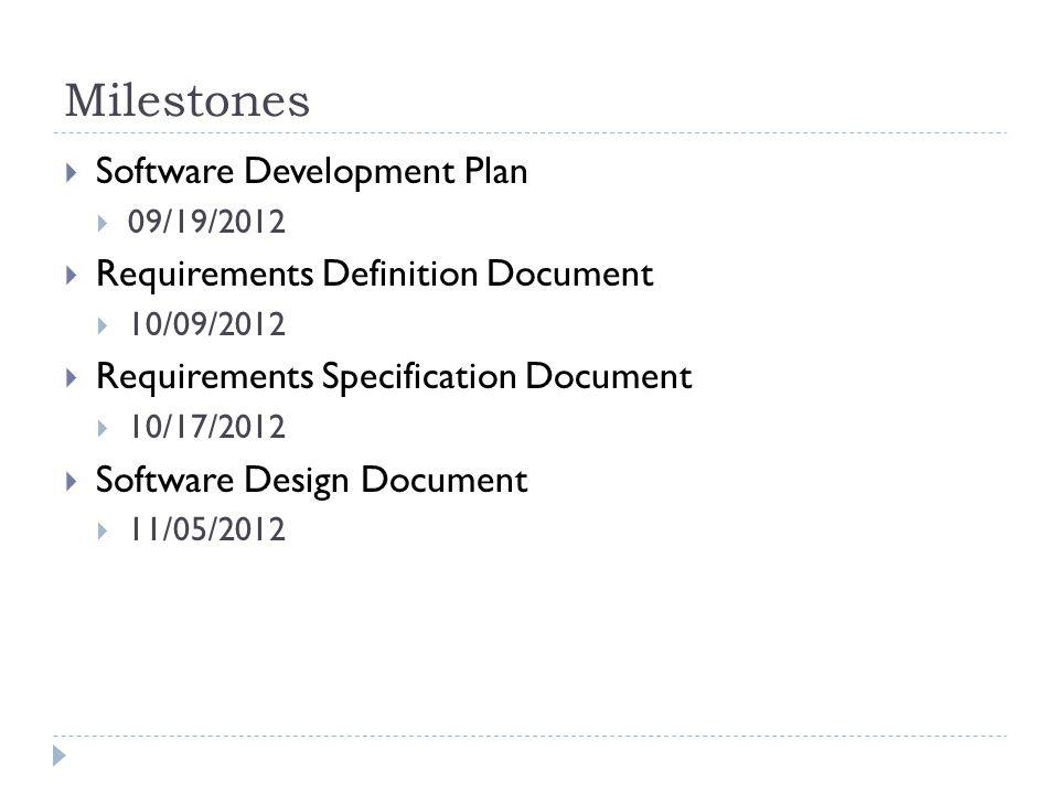 Milestones  Software Development Plan  09/19/2012  Requirements Definition Document  10/09/2012  Requirements Specification Document  10/17/2012