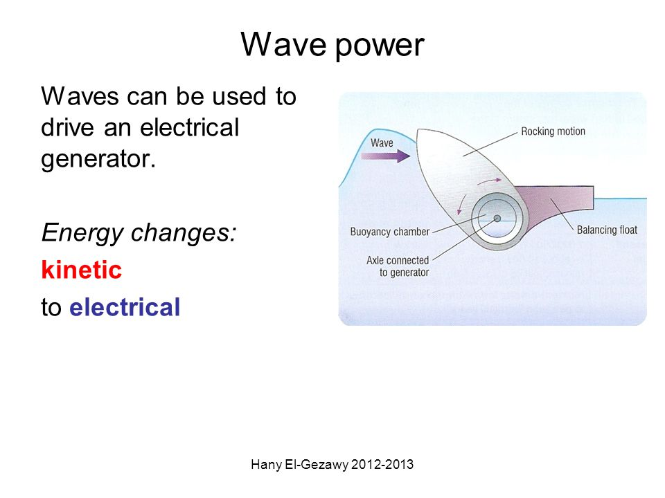 ADVANTAGES Renewable No greenhouse gases No acid rain No radioactive waste No land needed Short start up time DISADVANTAGES Unreliable Can only be used in areas with suitable waves Prone to storm damage Many needed to produce the same energy of a small thermal power station Danger to shipping TRIPLE ONLY Hany El-Gezawy 2012-2013