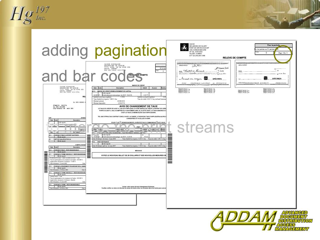 adding pagination and bar codes to merge the print streams