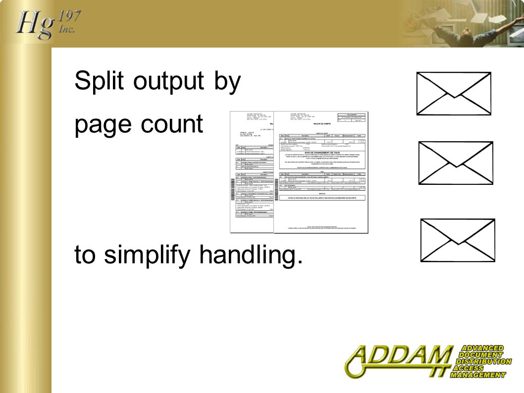 Split output by page count to simplify handling.