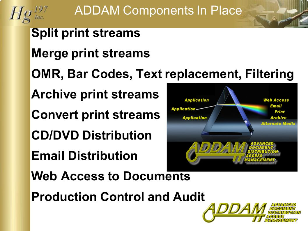ADDAM Components In Place Split print streams Merge print streams OMR, Bar Codes, Text replacement, Filtering Archive print streams Convert print streams CD/DVD Distribution Email Distribution Web Access to Documents Production Control and Audit