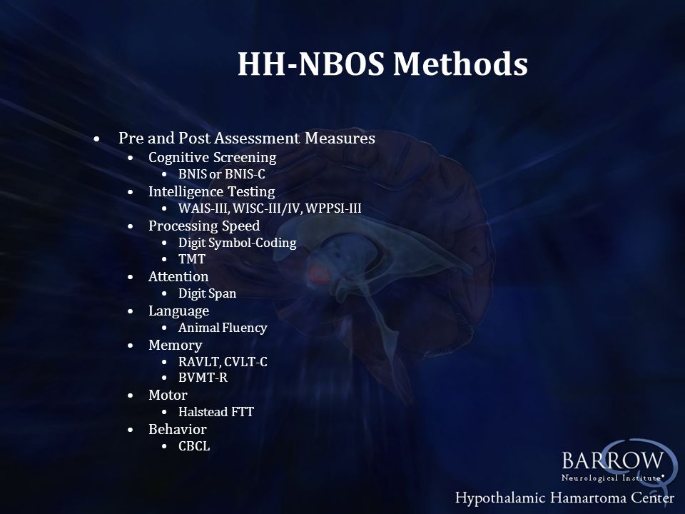 HH-NBOS Methods Pre and Post Assessment Measures Cognitive Screening BNIS or BNIS-C Intelligence Testing WAIS-III, WISC-III/IV, WPPSI-III Processing Speed Digit Symbol-Coding TMT Attention Digit Span Language Animal Fluency Memory RAVLT, CVLT-C BVMT-R Motor Halstead FTT Behavior CBCL