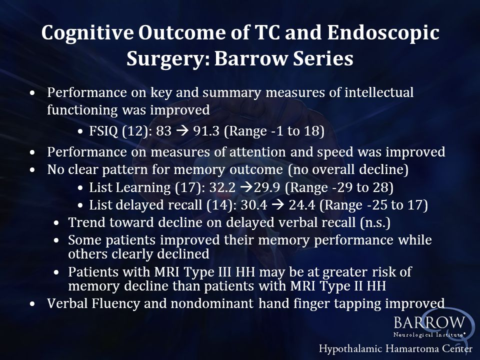 Cognitive Outcome of TC and Endoscopic Surgery: Barrow Series Performance on key and summary measures of intellectual functioning was improved FSIQ (12): 83  91.3 (Range -1 to 18) Performance on measures of attention and speed was improved No clear pattern for memory outcome (no overall decline) List Learning (17): 32.2  29.9 (Range -29 to 28) List delayed recall (14): 30.4  24.4 (Range -25 to 17) Trend toward decline on delayed verbal recall (n.s.) Some patients improved their memory performance while others clearly declined Patients with MRI Type III HH may be at greater risk of memory decline than patients with MRI Type II HH Verbal Fluency and nondominant hand finger tapping improved