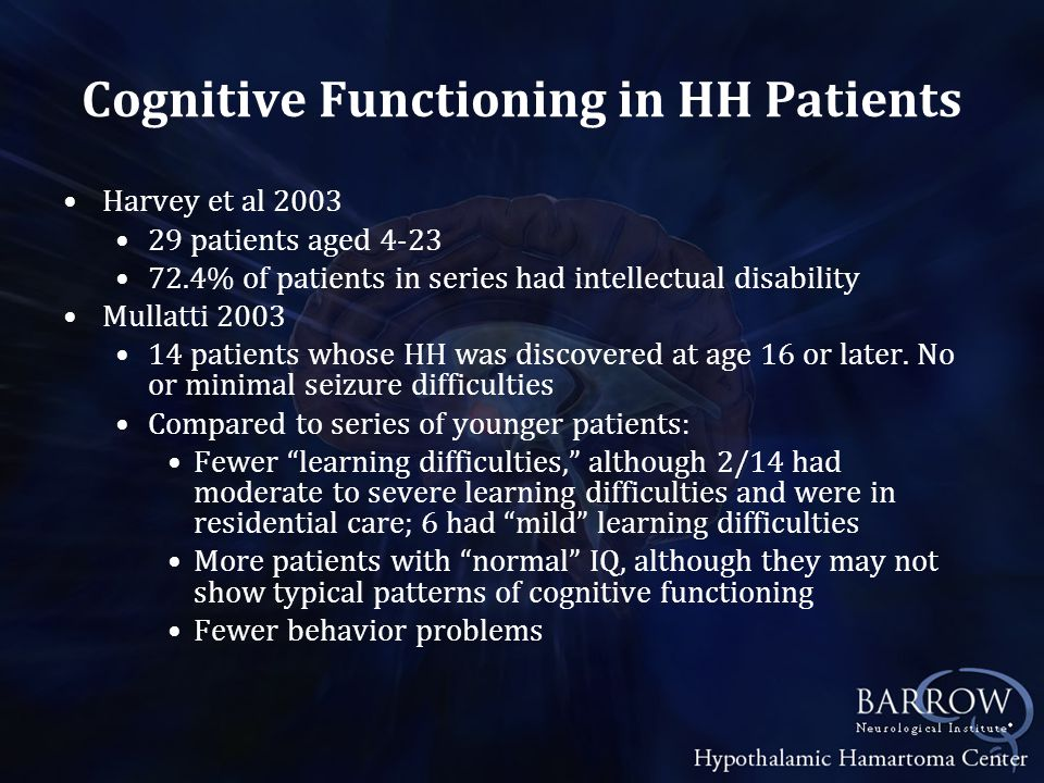 Cognitive Functioning in HH Patients Quiske et al 2006 13 juvenile and adult patients IQ ranged from moderate MR to good 54% had below average IQ Memory impaired in most patients-both verbal & visual Impairments in attention, executive systems functioning and visuospatial abilities was common Regis et al 2006 27 patients aged 3 to 50 Mental retardation in 30% and low average IQ in an additional 26% of patients Difficulties with sustained attention, impulsivity, disinhibition