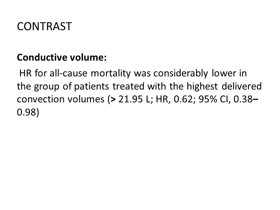CONTRAST Conductive volume: HR for all-cause mortality was considerably lower in the group of patients treated with the highest delivered convection v
