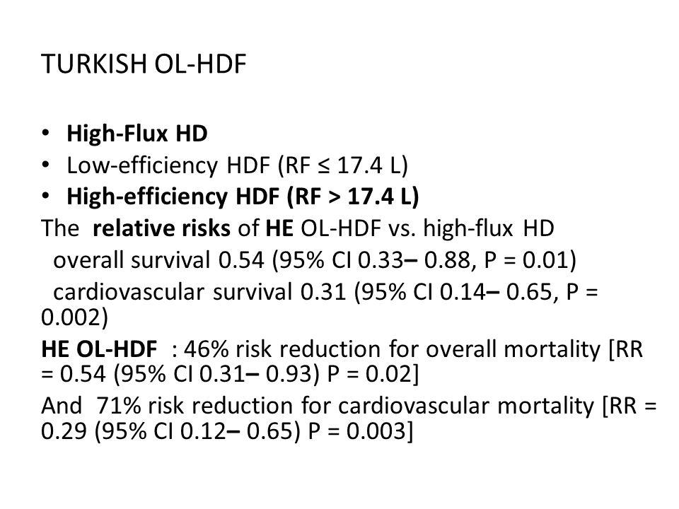 TURKISH OL-HDF High-Flux HD Low-efficiency HDF (RF ≤ 17.4 L) High-efficiency HDF (RF > 17.4 L) The relative risks of HE OL-HDF vs. high-flux HD overal