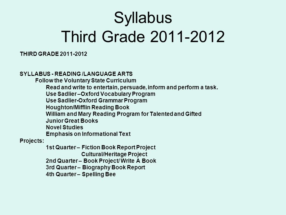Syllabus Third Grade 2011-2012 THIRD GRADE 2011-2012 SYLLABUS - READING /LANGUAGE ARTS Follow the Voluntary State Curriculum Read and write to entertain, persuade, inform and perform a task.