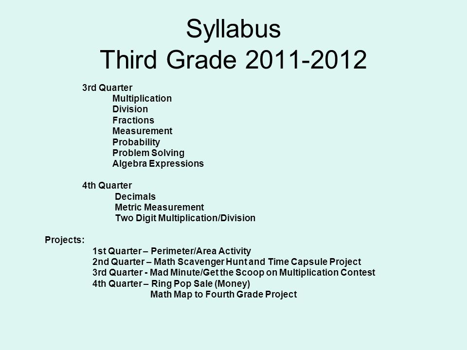Syllabus Third Grade 2011-2012 3rd Quarter Multiplication Division Fractions Measurement Probability Problem Solving Algebra Expressions 4th Quarter Decimals Metric Measurement Two Digit Multiplication/Division Projects: 1st Quarter – Perimeter/Area Activity 2nd Quarter – Math Scavenger Hunt and Time Capsule Project 3rd Quarter - Mad Minute/Get the Scoop on Multiplication Contest 4th Quarter – Ring Pop Sale (Money) Math Map to Fourth Grade Project