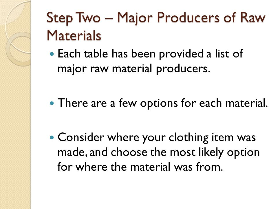 Step Two – Major Producers of Raw Materials Each table has been provided a list of major raw material producers.