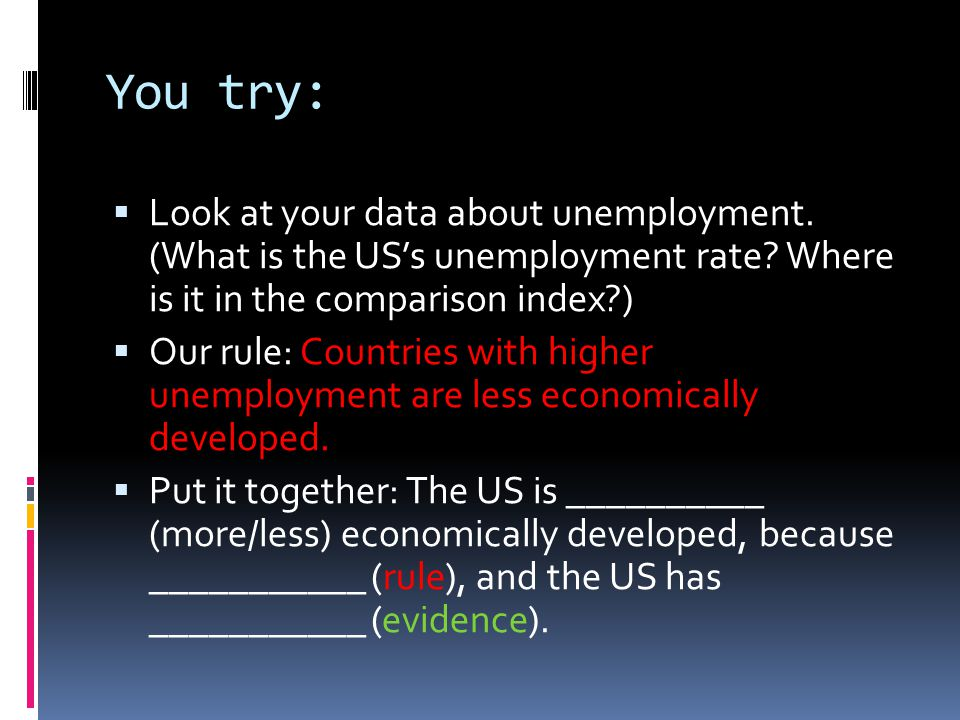 You try:  Look at your data about unemployment. (What is the US's unemployment rate.