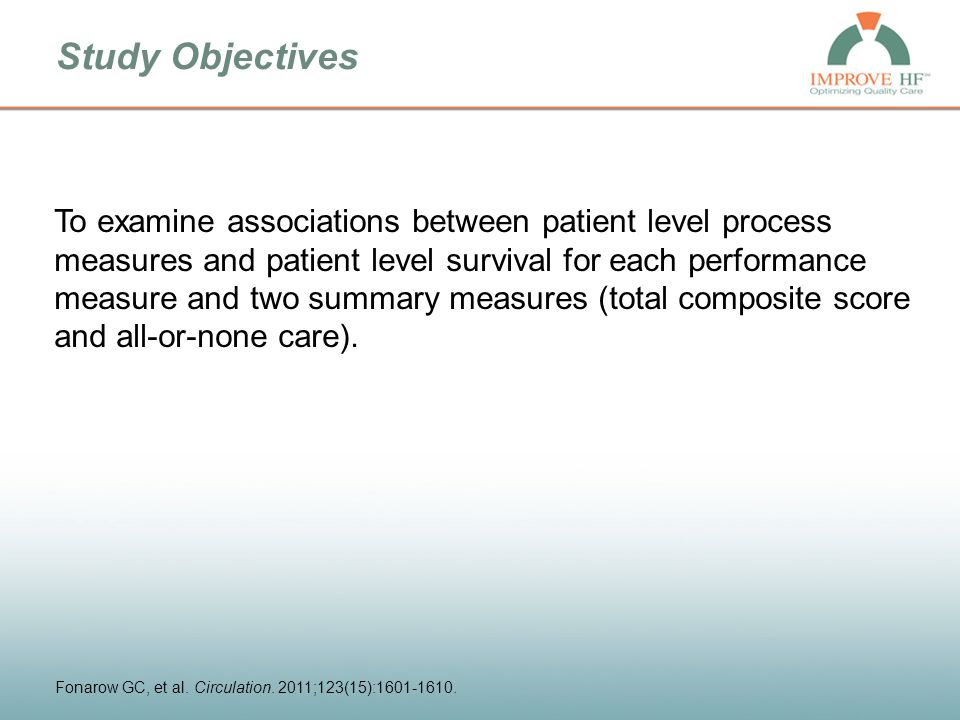 Study Objectives To examine associations between patient level process measures and patient level survival for each performance measure and two summary measures (total composite score and all-or-none care).