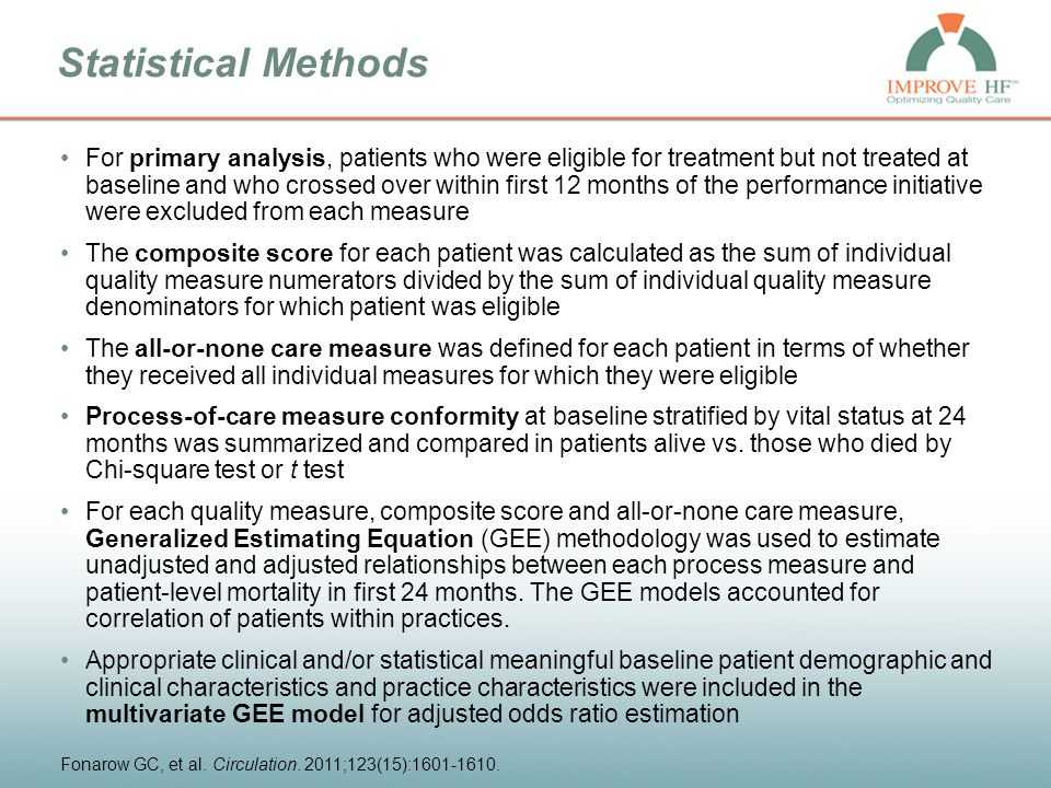 Study Limitations Patient eligibility and utilization rates were determined by accuracy and completeness of medical records and their abstraction –Reasons for preventing treatment may not have been documented –NYHA was not quantified in many records and instead was based on qualitative description of the patient's functional status Potential for ascertainment bias –Self-selected cardiology practices, primary care setting not included Not randomized – secular trends may have influenced results Follow-up not available for all patients Study analyzed medications prescribed rather than patient adherence Associations between care processes and outcomes do not determine causality Did not assess health-related quality of life, symptom control, functional capacity, patient satisfaction, hospitalization rates, or other clinical outcomes that may be of interest Fonarow GC, et al.