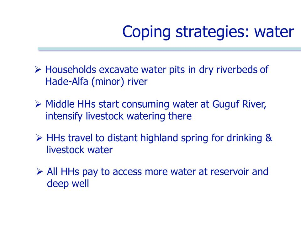 Coping strategies: water  All HHs pay to access more water at reservoir and deep well  Households excavate water pits in dry riverbeds of Hade-Alfa (minor) river  Middle HHs start consuming water at Guguf River, intensify livestock watering there  HHs travel to distant highland spring for drinking & livestock water