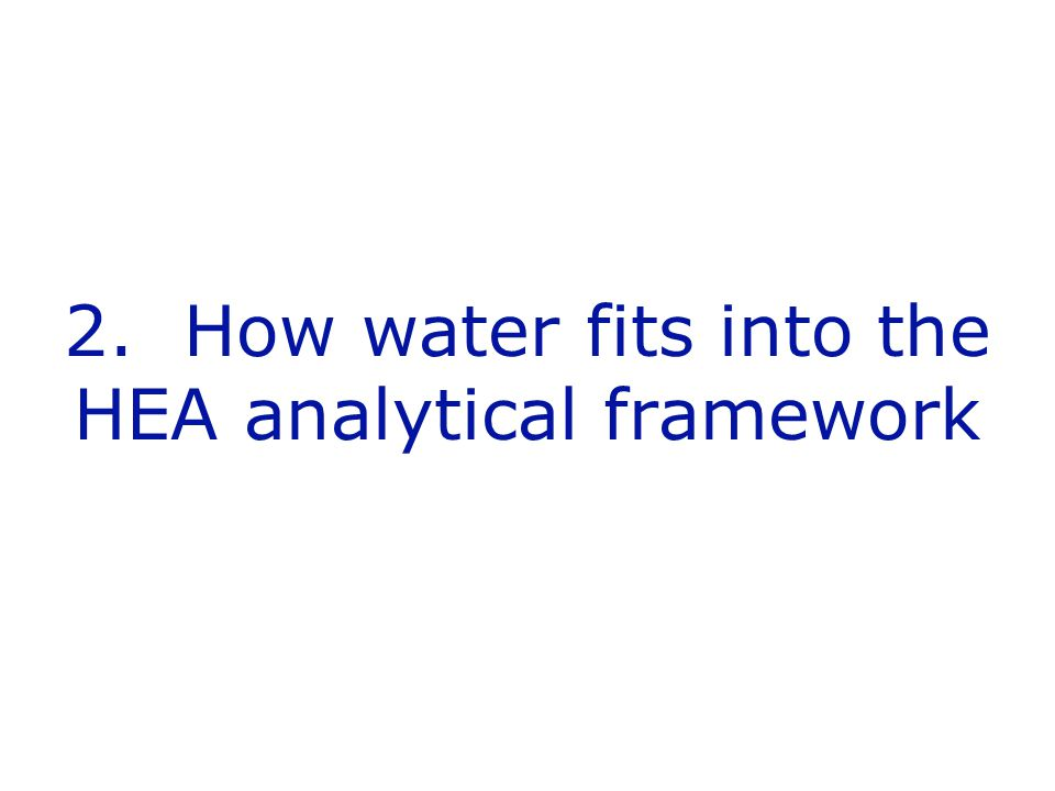 2. How water fits into the HEA analytical framework