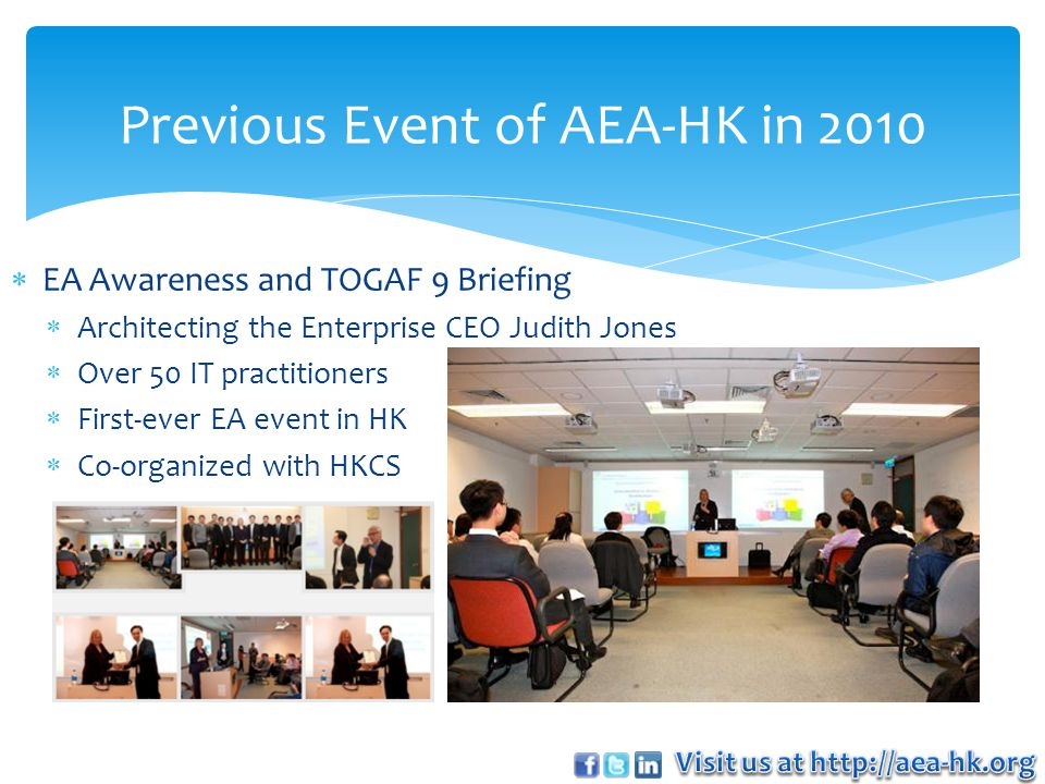  Our membership is FREE.AEA-HK welcomes all Hong Kong IT Architect professionals to join.