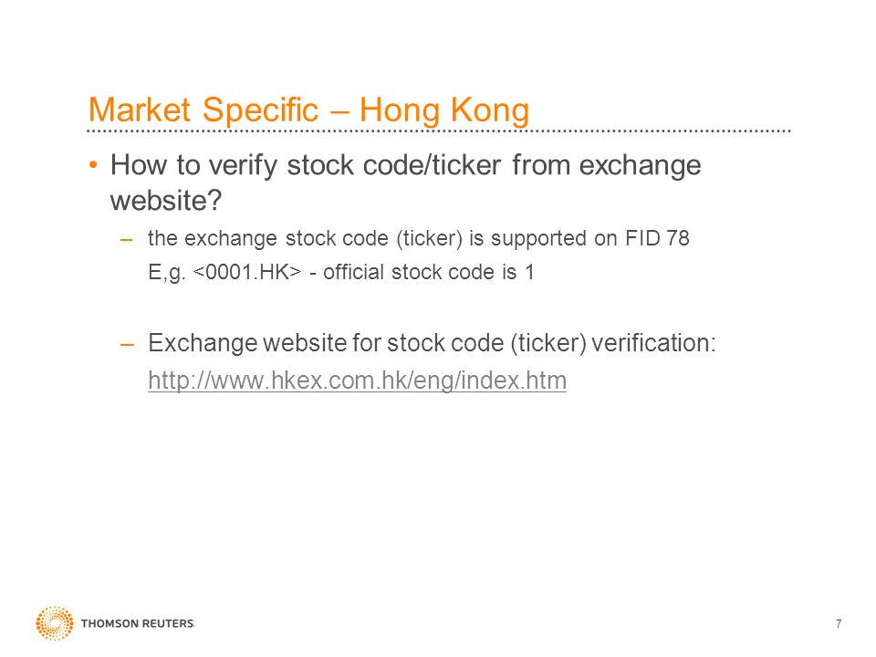 7 How to verify stock code/ticker from exchange website.