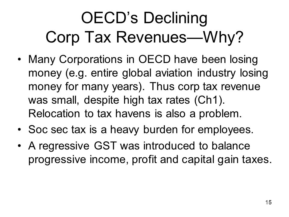 15 OECD's Declining Corp Tax Revenues—Why. Many Corporations in OECD have been losing money (e.g.