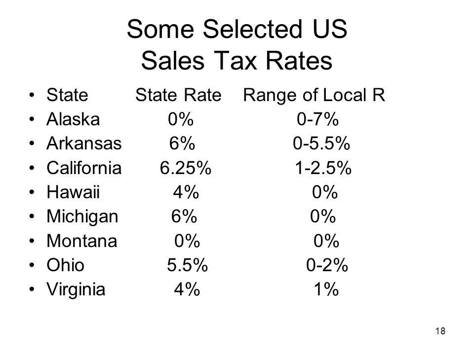 18 Some Selected US Sales Tax Rates State State Rate Range of Local R Alaska 0% 0-7% Arkansas 6% 0-5.5% California 6.25% 1-2.5% Hawaii 4% 0% Michigan 6% 0% Montana 0% 0% Ohio 5.5% 0-2% Virginia 4% 1%